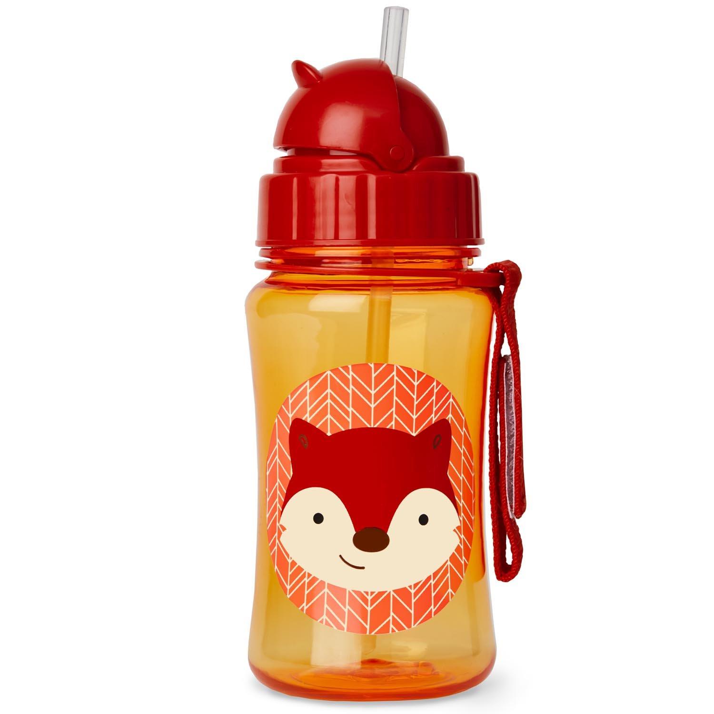Skip Hop Zoo Straw Bottle, Holds 12 oz, Ferguson Fox