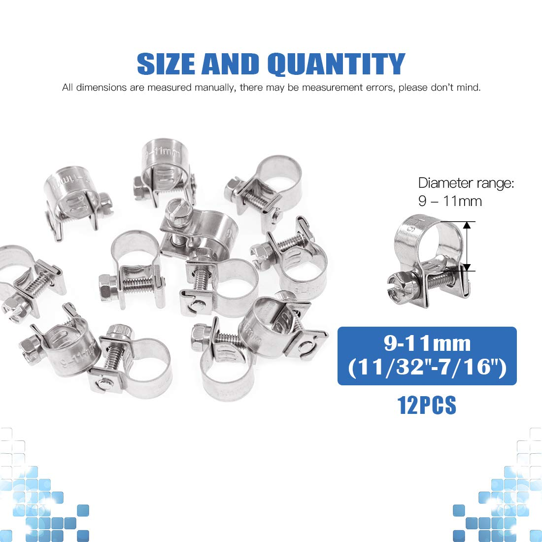 19//32-11//16 Dia Glarks 12Pack 15-17mm Stainless Steel Mini Fuel Injection Hose Clamps Adjustable Pipe Hose Clip Tube Clamps Set