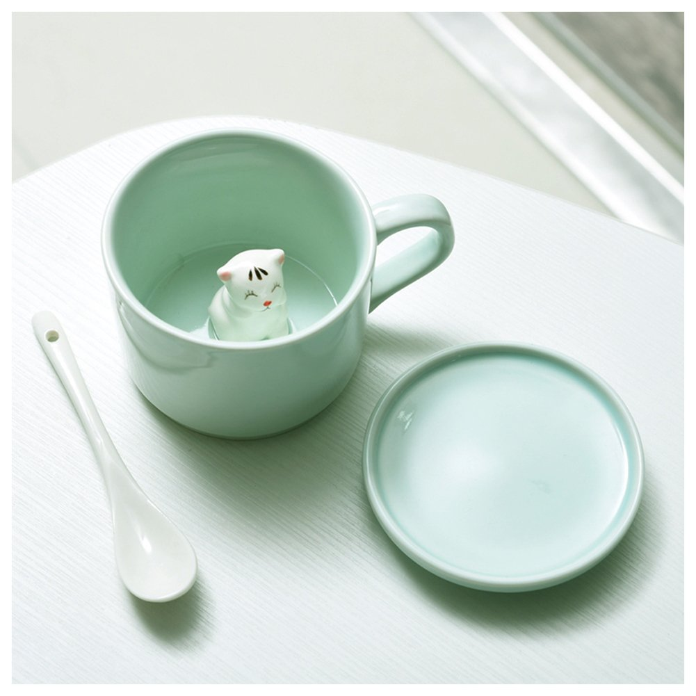 3D Cute Cartoon Miniature Animal Figurine Ceramics Coffee Cup with Spoon - Baby Animals Inside, Best Birthday Gift Idea (Small Flower Cat)