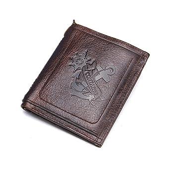 e5400ba5ec477 HYSENM Herren Geldbörse Ledergeldbörse Portemonnaie Echt Leder mit  Reißverschluss Querformat Hochformat klein flach Anker