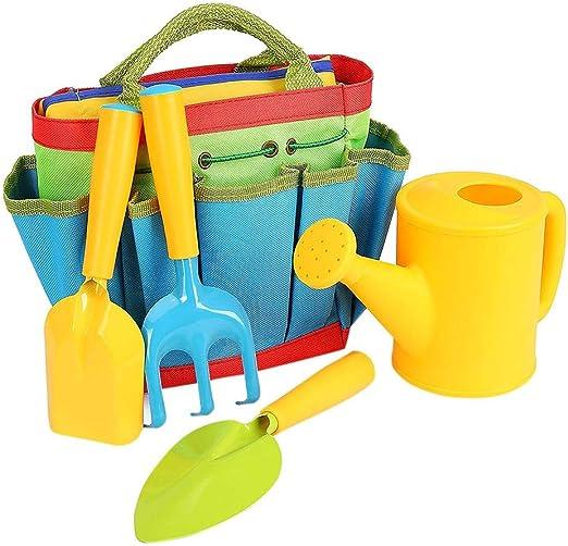 Juguete De Herramientas De Jardín, Kit De Herramientas De Jardinería Para Niños 5 Piezas Juego De Bolsos De Almacenamiento Integrado De Herramientas De Jardín Para Niños Niños Niñas Flor Al Aire Kits: