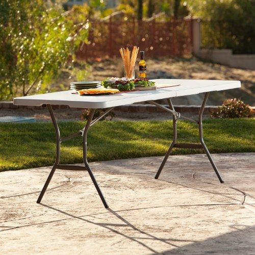 081483250113 - Lifetime 25011 Fold In Half Commercial Table, 6 Feet, White Granite carousel main 2