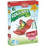 UNCLE TOBYS Roll Ups Strawberry Fruit Snack Fun Print 6 Pack, 94g