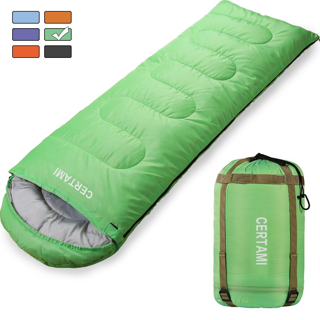 certami Sleeping Bag – 封筒軽量ポータブル防水性、大人用3シーズンアウトドアキャンプハイキング。 B0799FZQKN Green / Right Zip Green / Right Zip