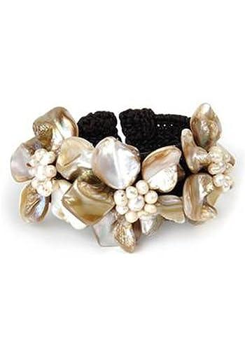 Floral Shell Studded Cuff Bracelet