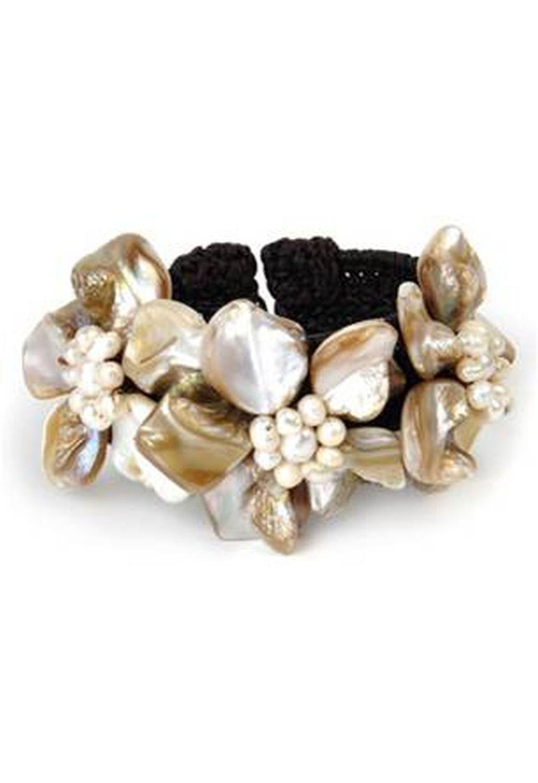 Gempro Floral Shell Studded Cuff Bracelet