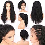 """Vvan Brazilian Silk Top Full Lace Human Hair Wigs Deep Wave Curly Silk Base Lace Front Human Hair Wigs Pre Plucked Hairline With Baby Hair For Black Women (16"""" 150% Density Silk Top Lace Front Wigs)"""