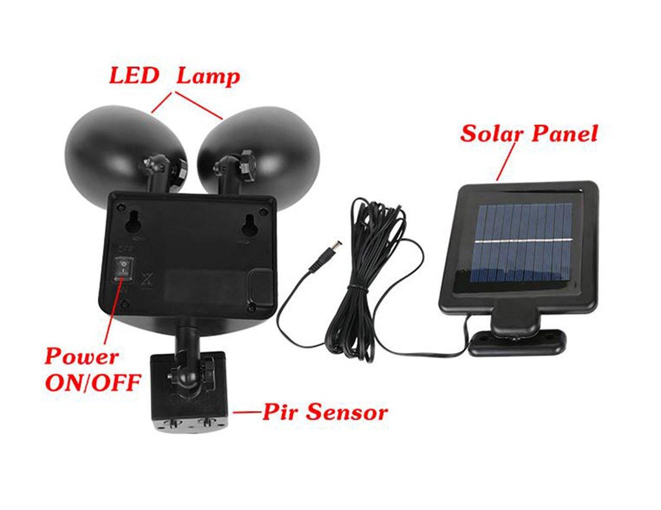 Solar Power Motion Sensor Light 22 LED Dual Head Security Floodlight Outdoor BLK