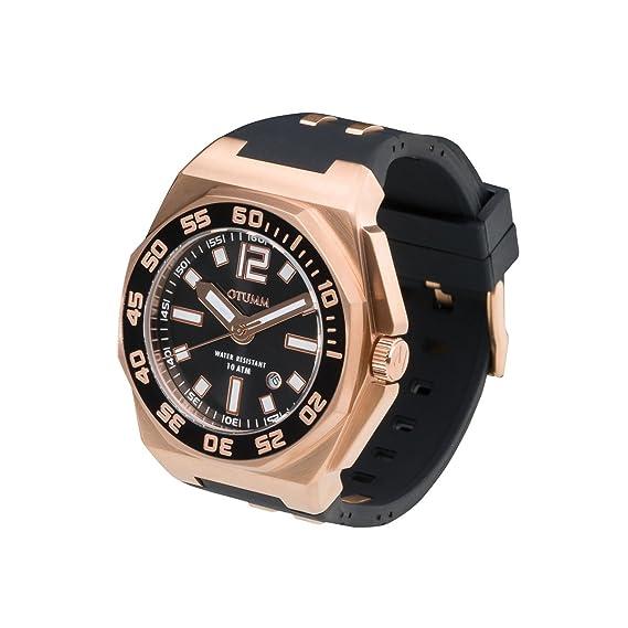 OTUMM Sports Calender Roségold, Schwarz 45mm 07246 - Reloj para Hombres, Correa de Silicona Color Negro: Amazon.es: Relojes