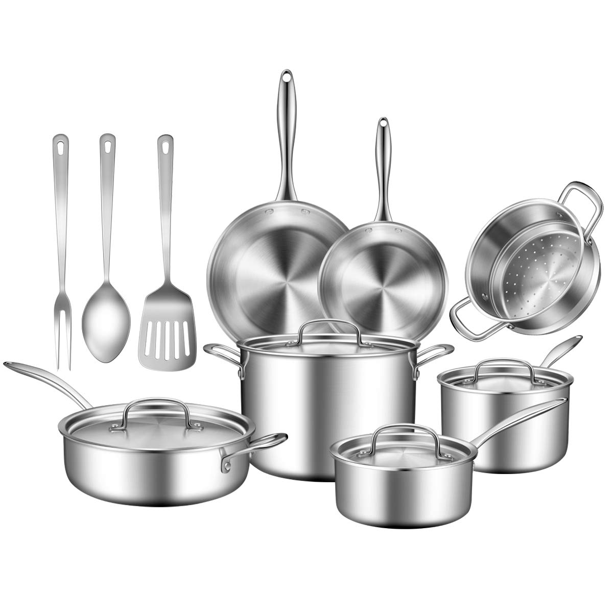 Stainless Steel Cookware Set, 14 Piece Triple Ply Cookware Set Professional Grade Pots and Pans Set, Induction Ready/Toxin Free/Dishwasher&Oven Safe, Silver