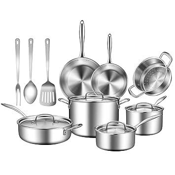 Juego de cocina de acero inoxidable, 14 piezas, juego de ollas y sartenes de