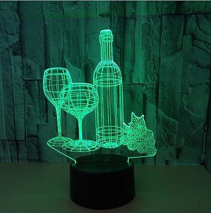 Botella de vino Multicolor 3d luz nocturna, creativos LED PAR regalo de cumpleaños luces multicolor