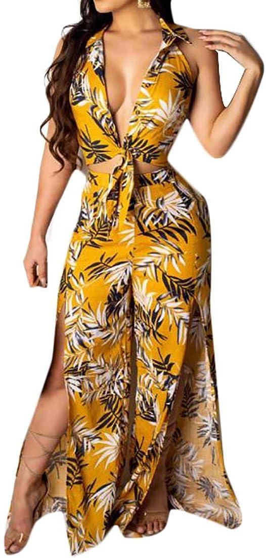 Wofupowga Womens Backless Halter V-Neck Floral Printed Slit Rompers Jumpsuits