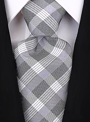 Check Stripe Ties for Men - Woven Necktie - Gray (I Tie Skinny But)