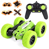 Toyshine Pioneer Stunt RC Car 4WD Remote Control Car 360 Degree Flips Double Sided Rotating Stunt Car Electric Rechargeable Off Road Green