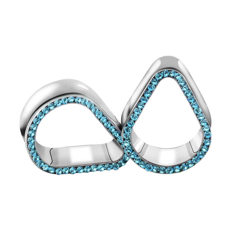TOPBRIGHT 1 Pair Rhinestone Teardrop Surgical Steel Crystal Ear Tunnels Expander Plugs Piercing Gauges for Ear by TOPBRIGHT