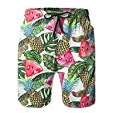 Mens Banana Leaf Watermelon Pineapple Boardshorts Elastic Waist Quick Dry Board Shorts