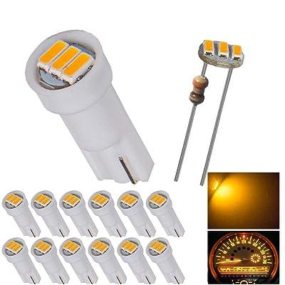 12pcs T5 74 Wedge 3-SMD LED Lights Instrument Panel Indicator Bulb Gauge Cluster Lamps Warm White: Automotive
