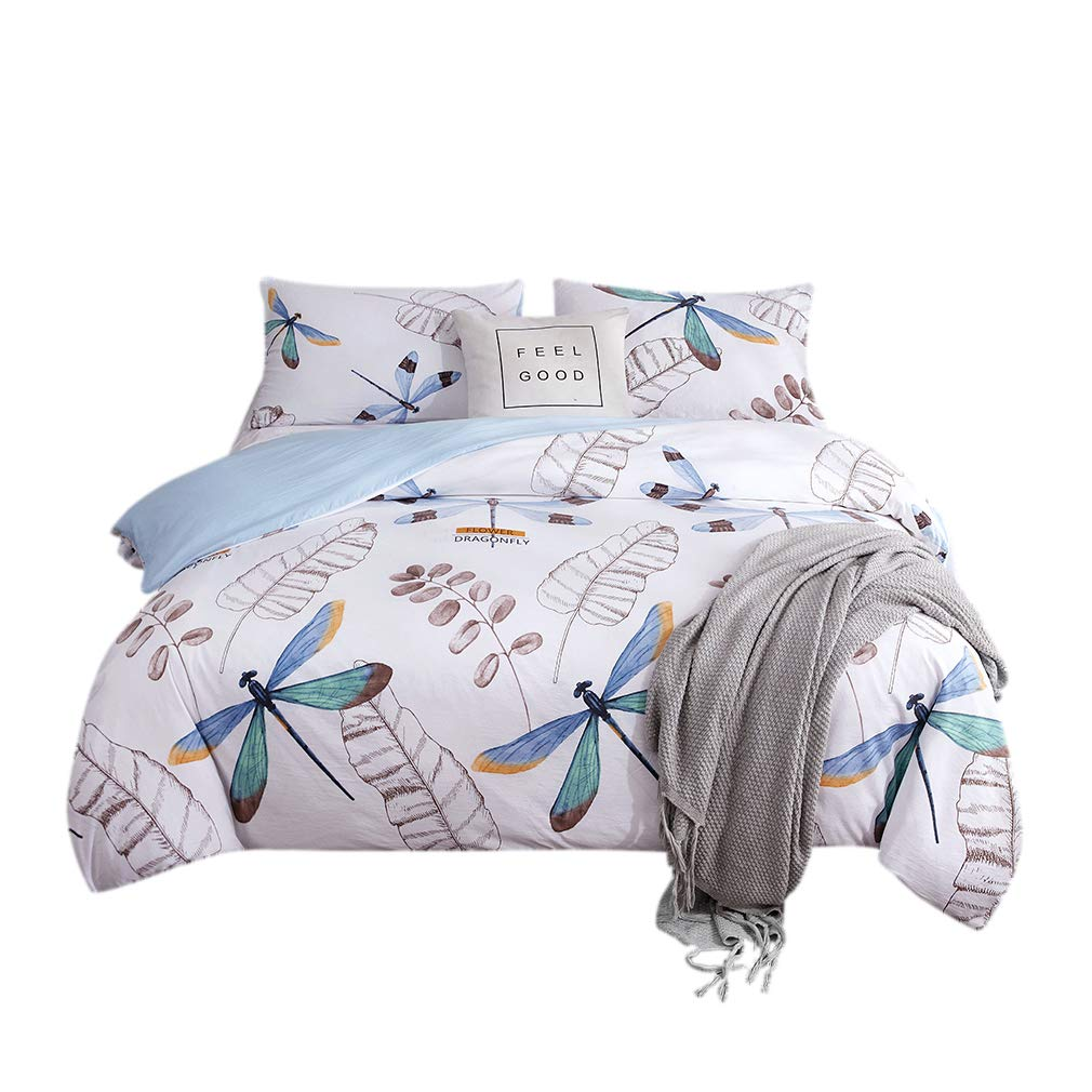 AYHome Kids Duvet Cover Sets Twin,Dragonfly Printed Soft and Breathable Floral Duvet Cover Sets for Girls Boys Bedding (Dragonfly)