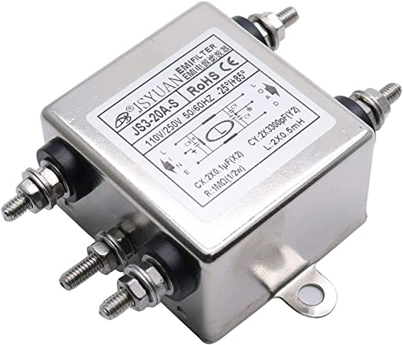 Aodesy EMI 115//250V Socket Panel Mount Power Line EMI Filter JS01-10A-T