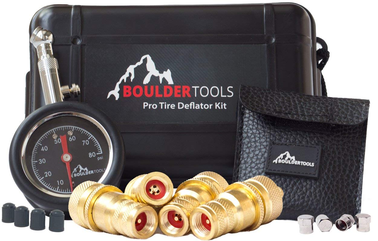 Boulder Tools Pro Deflator Kit and 80 psi Tire Ga Adjustable, Automatic for car, Truck, Motorcycle by Boulder Tools