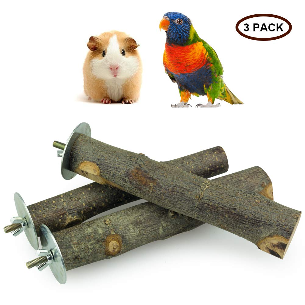 ULIGOTA Natural Apple Branch Wood Stand Platform Chew Toy for Hamster Chinchilla and Guinea Pig, Natural Wood Bird Cage Perch for Parrot Cages Toy 3P
