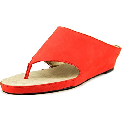 Tahari Womens Mindy Thong Strap Wedge Sandal Red Size 95