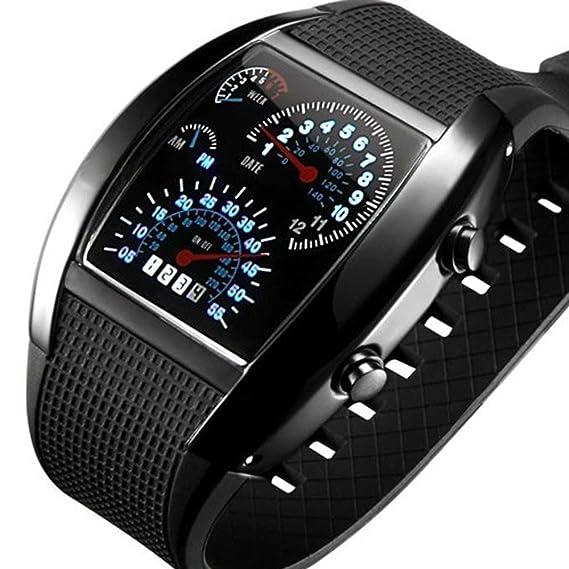 Hombres de las mujeres blanco de la luz LED azul negro de goma Cool RPM Turbo Flash Digital LED Deportes reloj de pulsera: Amazon.es: Relojes