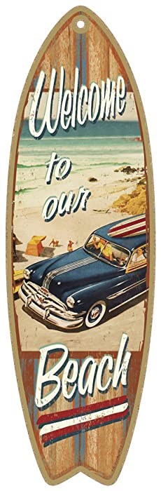 Surfboard Wood Plaque Sign - 'Welcome to Our Beach'