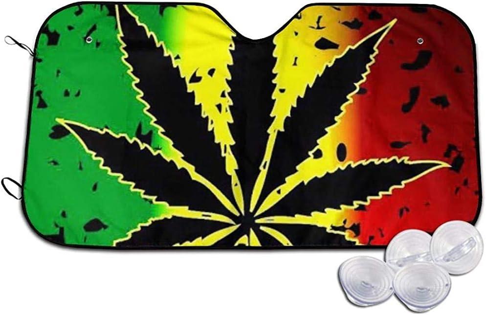 BI HomeDecor Protector De Parabrisas,Marihuana Hierba Cannabis Maceta Hoja Planta Elegante Vehículo Protector Reflectores Solares para Camión Vehículo Automotor,76x140cm