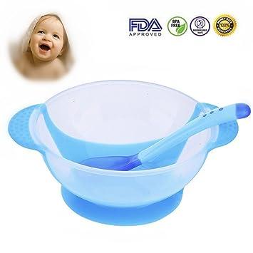 716e31360320ef Maysurban Baby Schüssel mit Saugnapf Kinder Geschirr Schälchen Set mit  Temperaturmesslöffel Blau