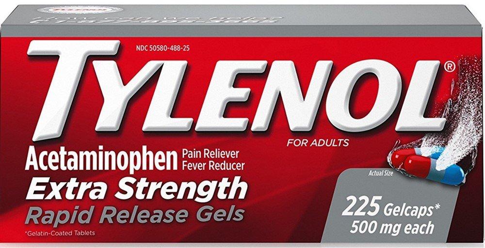 TYLENOL Acetaminophen Rapid Release Gelcaps 500 mg 225 ea (10 Pack)