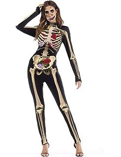 Mono de disfraz de Halloween para mujer, diseño de calavera de ...