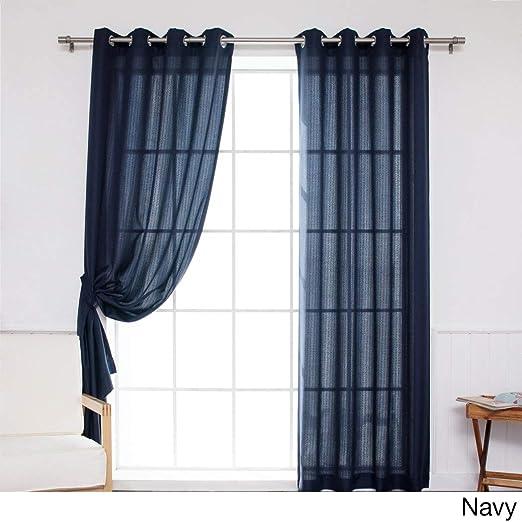 Juego de 2 cortinas DH de 84 pulgadas de color azul marino, color azul oscuro, con