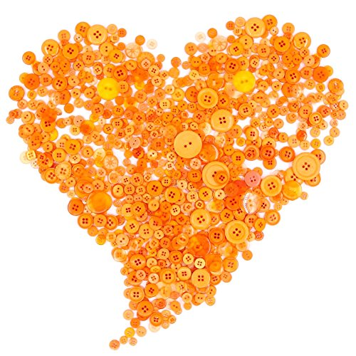 Swpeet 650 Pieces Assorted Sizes Resin Buttons 2 and 4 Holes Round Craft Buttons for Sewing DIY Crafts Childrens Manual Button Painting(Orange)