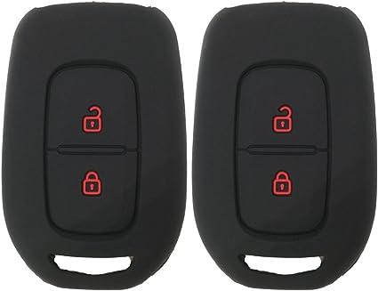 Coolbestda Carcasa de silicona con 2 botones para Renault Kwid Symbol Trafic Scenic Master Megane Clio Captur Laguna Fluence 2018 2017 2016 Dacia Sandero Logan Duster