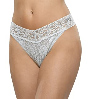 895f54a5d Hanky Panky Womens Mrs Original Rise Thong in Ivory Clear Crystals ...