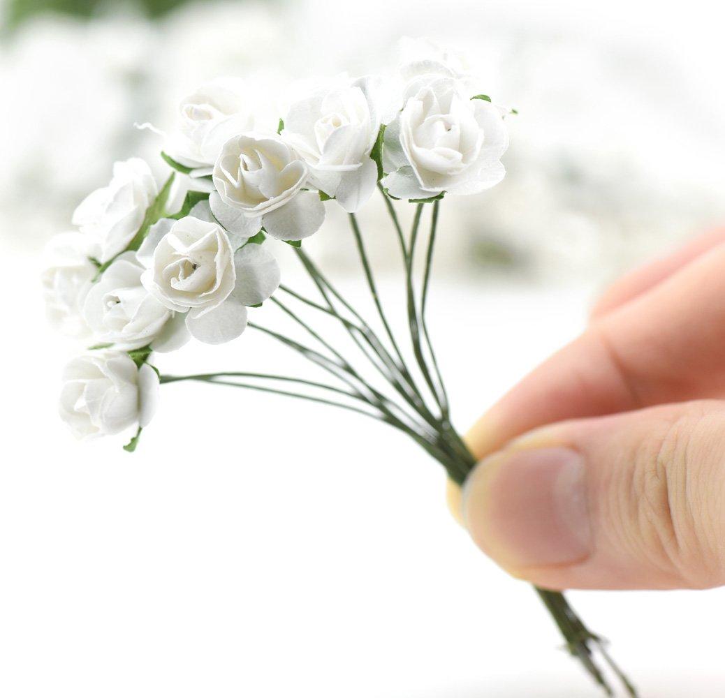 FiveSeasonStuff 144 Stücke Mini Künstliche Papier Rose Blumen ...