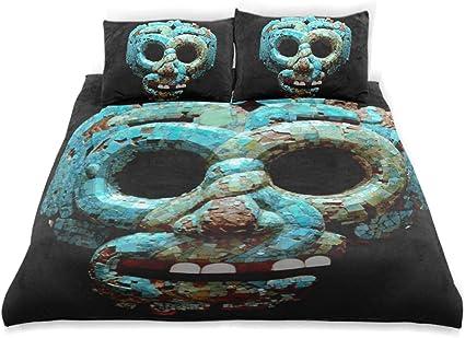 MALPLENA - Juego de Cama para niños con máscara de Quetzalcoatl 100% algodón, Funda de edredón tamaño Individual con 2 Fundas de Almohada, Juego de Cama de 3 Piezas: Amazon.es: Hogar