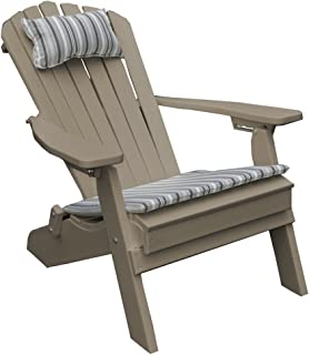 product image for Poly Folding and Reclining Fanback Adirondack Chair - Weathered Wood