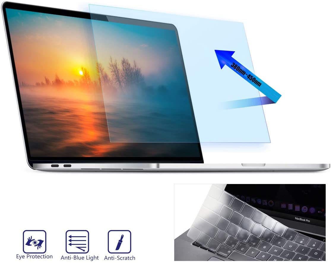 MacBook Pro 16 Inch Screen Protector, Anti Blue Light Anti Glare Filter For 2019 Release MacBook Pro 16 Model A2141 with Touch Bar & Touch ID, Eye Protection Protector With TPU Keyboard Cover