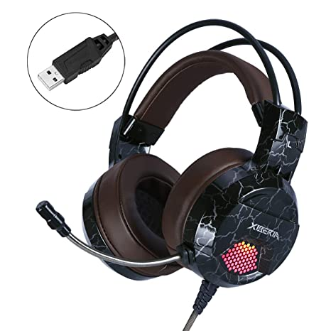 XIBERIA E1 USB Gaming Headset with Microphone,Over Ear Wired Stereo  Computer Headphones, Volume Control Enhanced Bass Noise Canceling Flexible