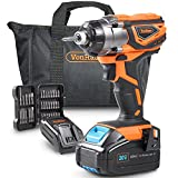 VonHaus 20V MAX Cordless 1/4'' Impact Driver Kit Max Torque 1327 in-lbs, Variable Speed, LED Light and 37pc Accessories - 3.0Ah Battery and Charger Kit Included
