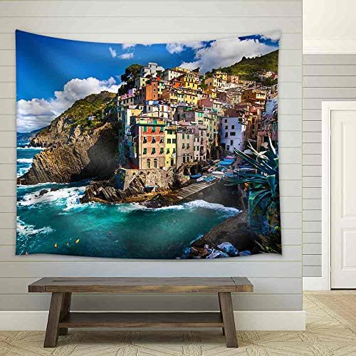 Riomaggiore a Fisherman Village in Cinque Terre Italy Fabric Wall
