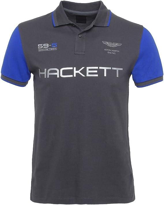 Hackett Aston Martin Racing Contraste con Puntas de La Camisa de Polo Grafito: Amazon.es: Ropa y accesorios