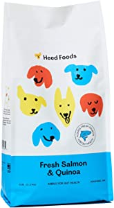 Heed Foods - Dried Dog Food | Fresh Salmon and Quinoa Kibble | All Natural, High Protein, Sensitive Stomach Prebiotics | Made in The USA | All Breeds & Life Stages | 5lb Bag
