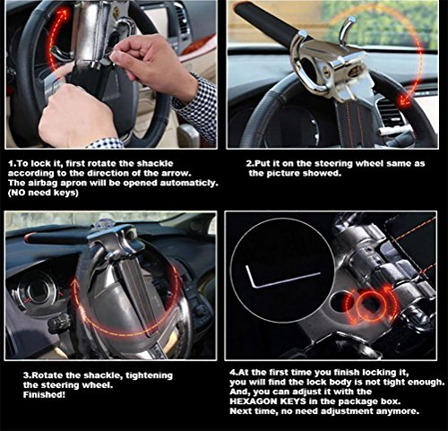 JINGBO Universal Car Steering Wheel Lock Car Anti-Theft Security Lock With Keys Anti Theft Devices Foldable Vehicle Lock for Car by JINGBO (Image #8)