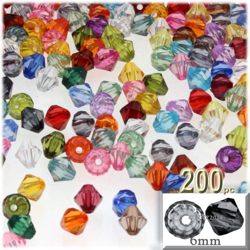 The Crafts Outlet, 200-pc Acrylic Bicone Beads, Faceted, 6mm, Multi
