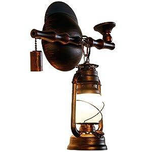 Nostálgico Tubo Aplique de lámpara de Pared, Restaurante Pasillo Hierro Forjado Retro Luz de Pared Sala de Estar Bar Decoración del Caballo Lámpara de Caballo Hierro Forjado Farol