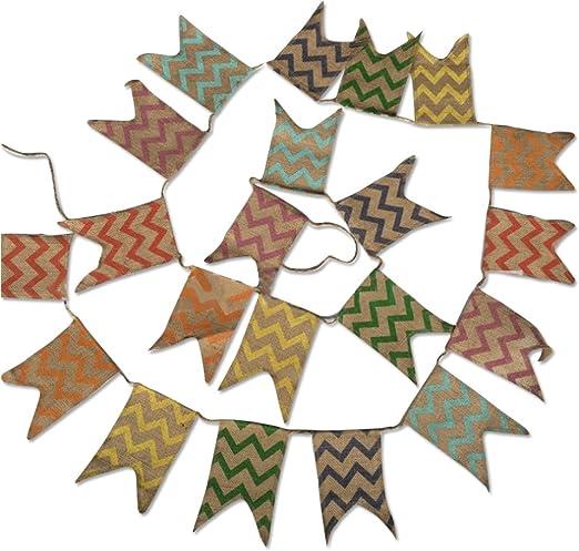 3.7M banderines,Guirnalda de banderines,Banderines de lino, ,Banderín Guirnaldas Tela vintage Decoración elegante para dormitorio de fiesta de cumpleaños o decoración de bodas: Amazon.es: Hogar